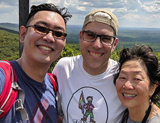 Ming Wong with his husband and mom